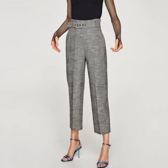 bea49f21 Zara high waisted belted plaid pants NWT